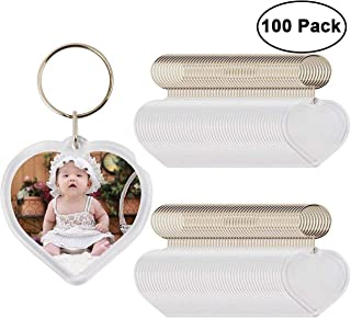 Photo Keychain (100 pcs) - Heart Shaped Acrylic Clear Blank Keyring with Photo Insert - DIY Birthday Wedding Favour Keyring Gifts Acrylic Plastic Photo Blank Snap In Keychains Personalized Picture