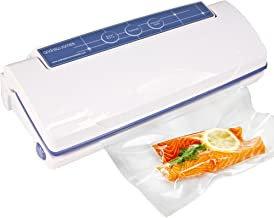 Andrew James Vacuum Sealer for Food | Dual Function with 15 Reusable Bags | Domestic Use Family Food Saver Machine Reduce Waste Save Space & Money | Ideal for Sous Vide Cooking | 110W