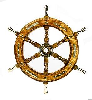 Nautical Premium Sailor's Hand Crafted Brass & Wooden Ship Wheel | Luxury Gift Decor | Boat Collectibles | Nagina Internat...