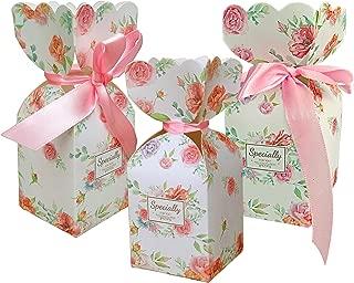 Lontenrea 50 Pcs Floral Pattern Candy Boxes Wedding Birthday Party Favor Gift Box with 50pcs Light Pink Ribbon(5cmx5cmx12cm,L x W x H,Small)
