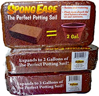 SpongEase Coco Coir Brick, Makes 2 gals Potting Soil - 3 Pack for seedlings, Rooting, Vegetables, Berries, Roses, Orchids, House Plants, hydroponics, Worm Farms, Animal Bedding