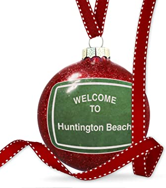 NEONBLOND Christmas Decoration Green Road Sign Welcome to Huntington Beach Ornament