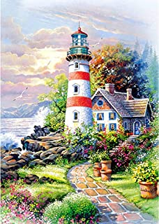 Holly LifePro DIY 5D Diamond Painting Kits for Adults, Full Drill Beach White Lighthouse Crystal Rhinestone Embroidery Pic...