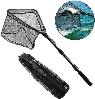 SAN LIKE Fishing Landing Net - Folding Fish Friendly Net Telescopic Portable Non-Slip EVA Handle for Safe Fishing Catching or Releasing 36inches,43inches,71inches,98inches