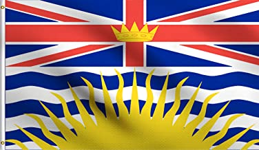 DMSE British Columbia Canada Flag 3X5 Ft Foot 100% Polyester 100D Flag UV Resistant (3'X5' Ft Foot)