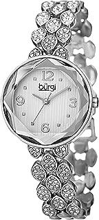 Burgi Women's Bur124Ss Swarovski Crystal Accented Faceted Silver Bracelet Watch, Analog Display