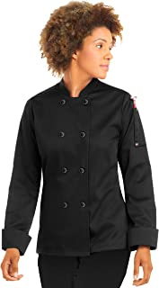 Womens Long Sleeve Chef Coat/Double Breasted/Plastic Button Reversible Front Closure (Medium, Black)