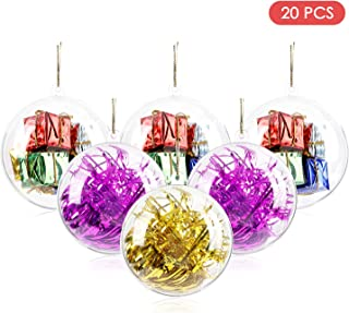 AGM Clear Fillable Ornaments Ball, 20Pcs DIY Plastic Christmas Tree Hanging Ornaments Ball, 50mm Decoration Baubles Crafts for New Years Present Holiday Wedding Party Home Decor