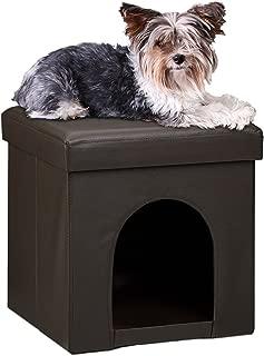 Relaxdays Taburete Casa para Perros Plegable, Piel sintética, Marrón, 38 x 38 x 38 cm