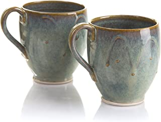 Castle Arch Pottery Set Of 2 Coffee/Tea Mugs, Handmade In Ireland, Ideal For Coffee and Tea, Use For Hot and Cold Beverages, Beautiful Design And Stamp, Dishwasher safe (Mountain Green Glass) (Green)