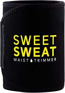 Sports Research Sweet Sweat Premium Waist Trimmer (Yellow Logo) for Men & Women. Includes Free Sample of Sweet Sweat Gel!
