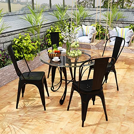 VIKOVCIM Stackable Metal Garden Dining Chairs Set of 4 Rust Prevention Courtyard Chair with High Back Living Room Kitchen Chair for Outdoor Party Bistro Restaurant Wedding Cafe Patio (Black)