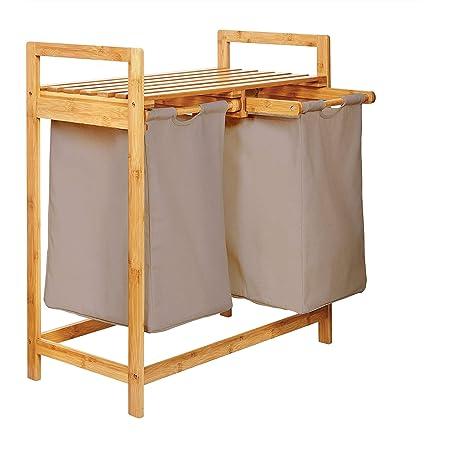 Lumaland Estantería de baño en Bambú con cesto para la Colada - Cesta para Ropa Sucia con 2 compartimientos extraibles - Mueble para el lavadero - 73 ...