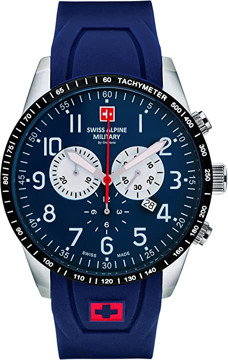Orologio da uomo con cronografo swiss alpine military by grovana , 10 atm, blu 7043.9135sam 7082.9835SAM