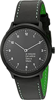 Mondaine Helvetica No.1 Watch New York Edition (MH1.R2221.LB) Swiss Made, Black Leather Strap, Green Tan Stitches, Black Case and Dial, White Numbers and Hands