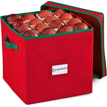 Durable Non-Woven Christmas Ornament Storage Box with Removable lid, Stores up-to 64 Standard Holiday Ornaments & Xmas Decorations For Seasons To come - 12 x 12 Inch 4 Layer Ornament Storage Container