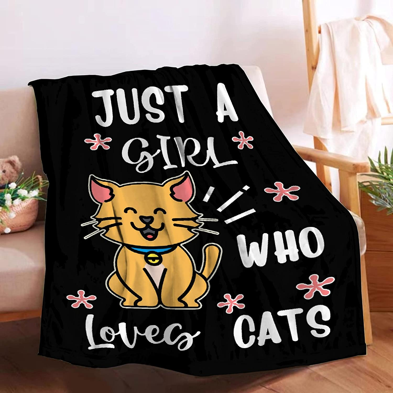 Microfiber Flannel Throw Blanket Mesa Mall Just A Supe Who Cats shipfree Loves Girl