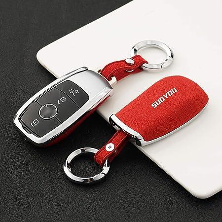 Ontto 4 Tasten Smart Autoschlüssel Abdeckung Tasche Wildleder Autoschlüssel Hülle Schlüsselschutz Mit Schlüsselanhänger Für Mercedes Benz 2017 E Klass W213 E200l C260l E300l S320l Schlüsselbox Rot Auto