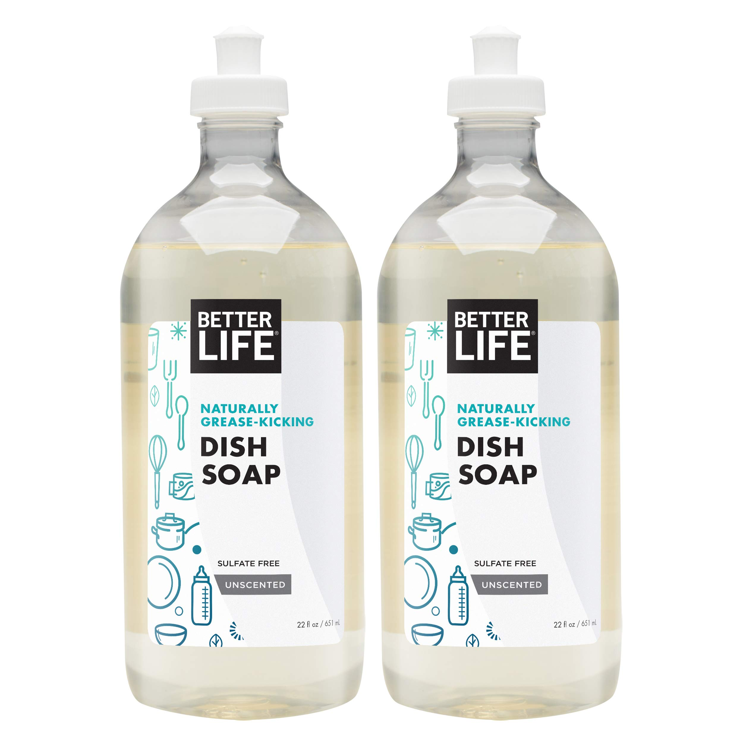 Better Life Natural Dish Soap Unscented, 44 Fl Oz (Pack of 2)