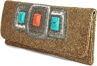 MyBatua Sadie Gold Hand Gestickte Handtasche gestickt mit Glas-Tubes ACP-394
