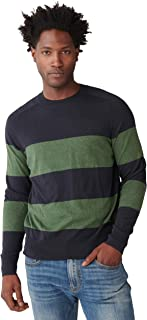 Men's Long Sleeve Crew Neck Striped Welterweight Sweater