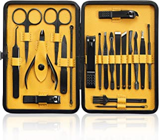 Manicure Set 20Pcs - Professional Stainless Steel Nail Clippers Scissors Pedicure Tools Kit - Portable Travel Grooming Kit for Men and Women with Black/Yellow Leather Case