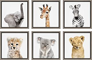 Kate and Laurel Sylvie Safari Animal Framed Canvas Art Set by Amy Peterson 6 Piece Gray