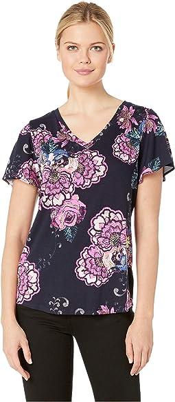 Printed Jersey Short Sleeve Flutter V-Neck Top