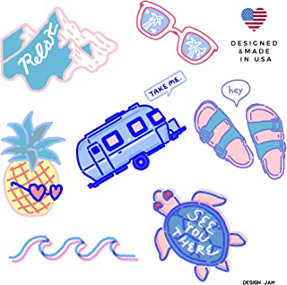 7 VSCO Stickers for Hydroflasks - Laptop Stickers Cute Ocean Beach Vinyl Stickers - Visco Girl Stuff - Water Bottle Decal Sticker 7 Pack of Stickers Made in USA - Design Jam