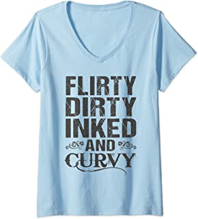 Womens Flirty Dirty Inked And Curvy Tattoo Lover V-Neck T-Shirt