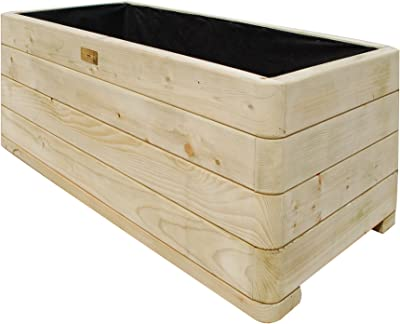 Bosmere PLLY100 Rowlinson Marberry Rectangular Wooden Planter with Liner, Natural Timber Finish