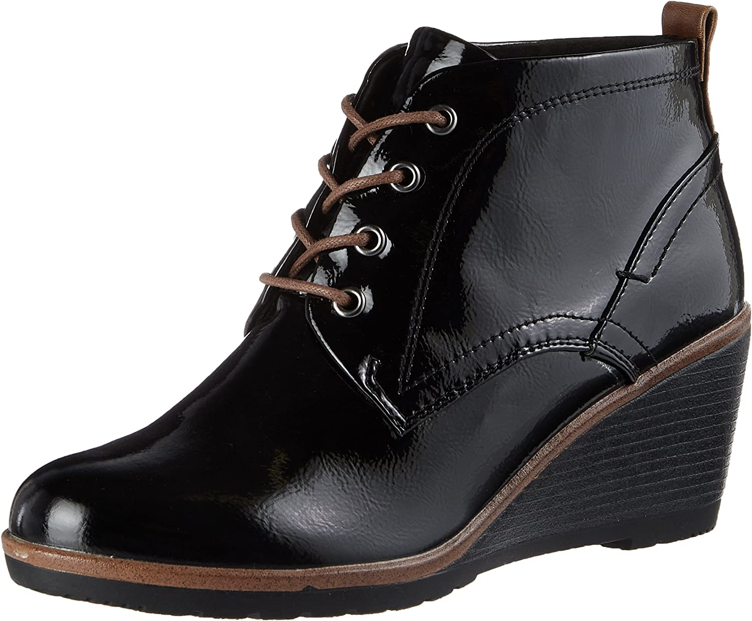 Marco Tozzi Women's Black Patent Lace Up Mid Heel Wedge Ankle Boot