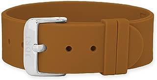 JDRT Watch Strap - Brown Silicone / White Silver Buckle