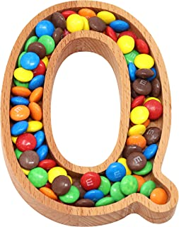 Wooden Letter Q Candy Dish, Monogram Nut Bowl, Snack, Cookie, Cracker Serving Plate, Decorative Display, Home Accessory, Unique Gift Idea, for Date, Baby Shower, Birthday Party, Small Size