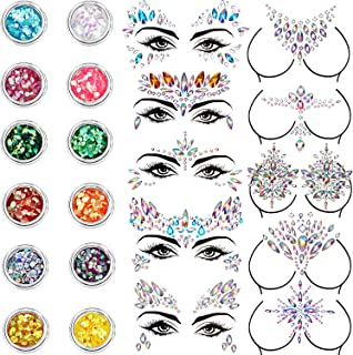 10 Sets Face Gems Glitter Face Rhinestone Stickers Face Crystal Tattoo Set Forehead Decorations with 12 Boxes Body Chunky Face Glitter for Women Mermaid Theme Party Supplies (Style Set 2)