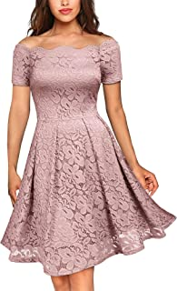 Women's Vintage Floral Lace Short Sleeve Boat Neck Cocktail Party Swing Dress