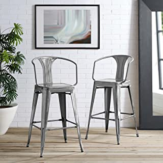 Modway Promenade Industrial Modern Aluminum Bistro Bar Stool with Arms in Gunmetal