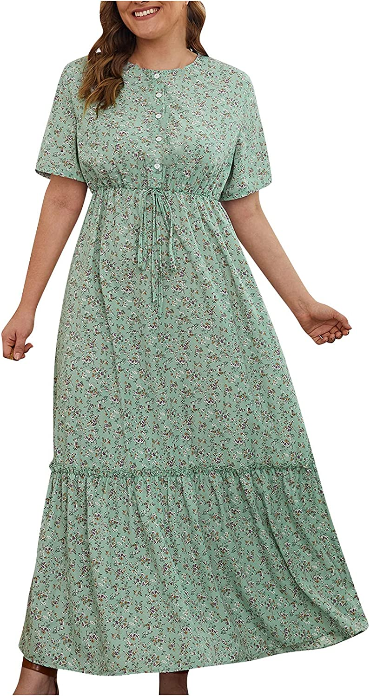 Summer Plus Size Dresses Women Floral Graphic Print Boho Dress Round Neck Beach Sundress Ruffle Short Sleeve Maxi Skirt