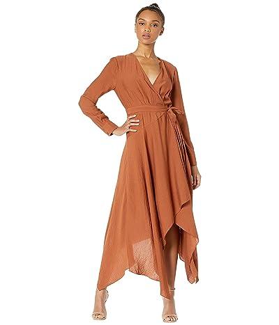 BCBGMAXAZRIA Asymmetrical Hem Wrap Dress (Tiger Eye) Women