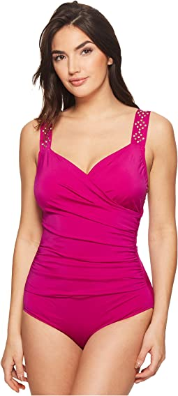 Solid Novelty Shoulder Draped Surplice One-Piece