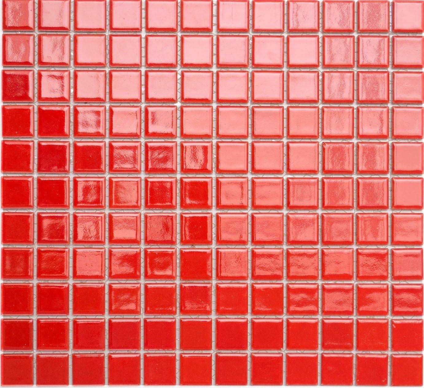 Piastrelle a mosaico dimensioni foglio: 330 x 302 mm 1 foglio in ceramica dimensioni: 2,5 x 2,5 x 6 mm quadrate a tinta unita rosso lucido