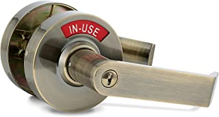 VIZILOK Privacy Indicator Lock - Commercial Grade Left Right Reversible Occupancy Indicator Stainless Steel Lock - Antique Brass