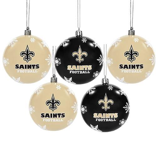 FOCO NFL Unisex 2016 5 Pack Shatterproof Ball Ornament Set - New Orleans Saints Decorations: Amazon.com
