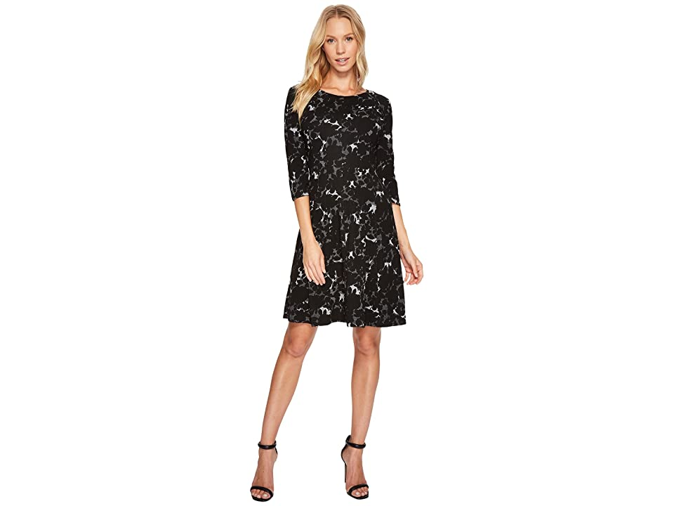 Taylor Floral Knit Jacquard Dress (Black/Ivory) Women