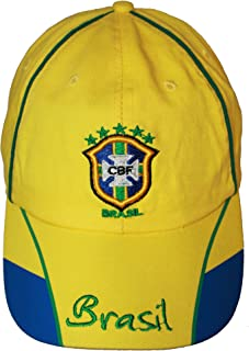 SUPERDAVES SUPERSTORE Brasil Brazil Yellow Blue CBF Logo FIFA Soccer World Cup Embroidered Hat Cap New