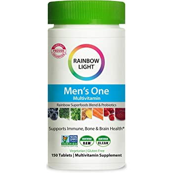 Rainbow Light Men's One Multivitamin for Men, with Vitamin C, Vitamin D, & Zinc for Immune Support, Clinically Proven Absorption of 6 Key Nutrients, Non-GMO, Vegetarian & Gluten Free, 150 Tablets