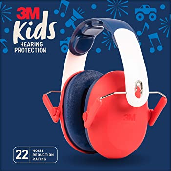 3M Kids Hearing Protection, Hearing Protection for Children with Adjustable Headband, Red, 22dB Noise Reduction Rating, Studying, Quiet, Concerts, Events, Fireworks, For Indoor and Outdoor Use