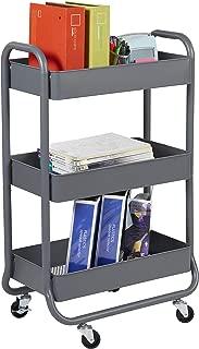 ECR4Kids 3-Tier Premium Metal Rolling Utility Cart - Heavy Duty Mobile Storage Organizer, Grey