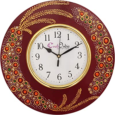 eCraftIndia Handcrafted Ethnic Theme Round Wooden Wall Clock