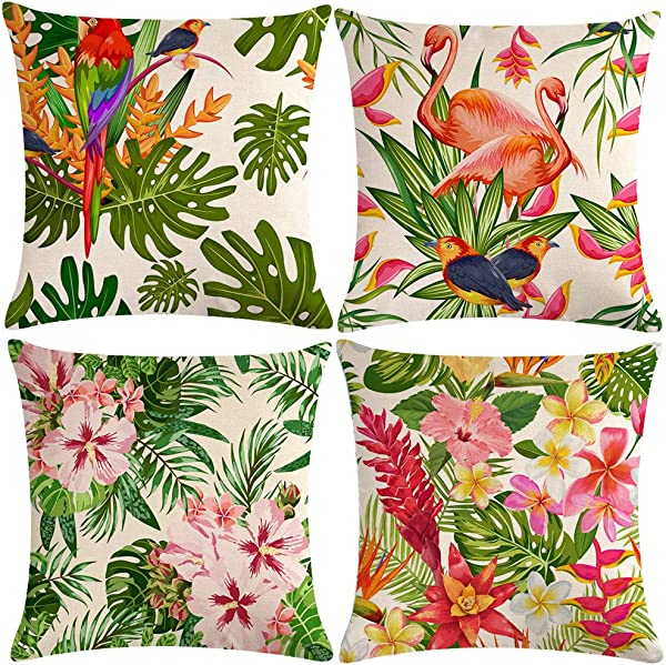 ULOVE LOVE YOURSELF 4pack Tropical Throw Pillow Covers Tropical Leaves Flowers With Parrot Flamingo Bird Pattern Home Decorative Cushion Covers 18 18 Pillowcase Tropical